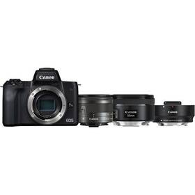 Digitálny fotoaparát Canon EOS M50 + M 15-45 IS STM + obj. 50/1.8 + ADAPTÉR (2680C061) čierny