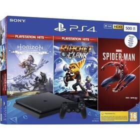 Herná konzola Sony PlayStation 4 500 GB + Marvel's Spider-Man + Horizon Zero Dawn + Ratchet & Clank (PS719391708)