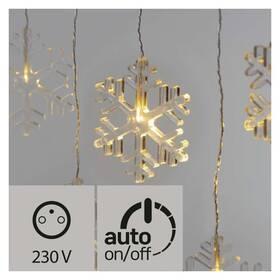 Vianočné osvetlenie EMOS 8 LED vánoční závěs, vločky, 80cm, venkovní, teplá bílá, časovač (1534226500)