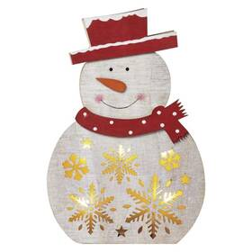 LED dekorace EMOS vánoční sněhulák dřevěný, 30cm, 2× AAA, teplá bílá, časovač (1534233100)