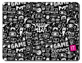 Podložka pod myš Connect IT Doodle malá, 32 x 26 cm (CMP-1120-SM) čierna/biela