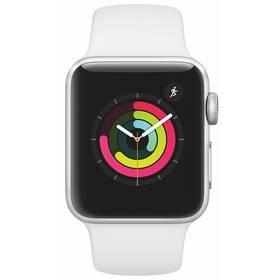 Inteligentné hodinky Apple Watch Series 3 GPS 38mm púzdro zo strieborného hliníka - biely športový remienok (MTEY2CN/A)