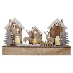 LED dekorace EMOS vánoční domečky, 30cm, 2× AA, teplá bílá, časovač (1534232300)