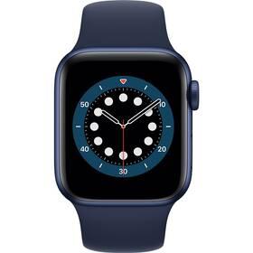 Inteligentné hodinky Apple Watch Series 6 GPS 44mm púzdro z modrého hliníka - námornícky tmavomodrý športový náramok (M00J3VR/A)
