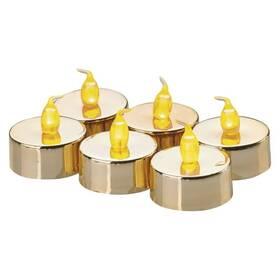 LED dekorace EMOS 6x čajová svíčka zlatá, 6x CR2032 (1534215100)