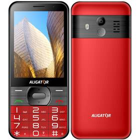 Mobilný telefón Aligator A900 Senior + nabíjecí stojánek (A900R) červený