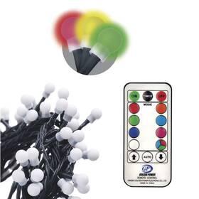 Vianočné osvetlenie EMOS 96 LED 10m, řetěz – kuličky, červená/zelená/modrá, ovladač, programy (1534216300)