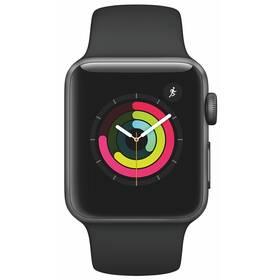 Inteligentné hodinky Apple Watch Series 3 GPS 38mm púzdro z vesmírne sivého hliníka - čierny športový remienok (MTF02CN/A)