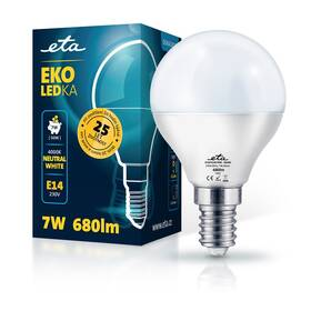 LED žiarovka ETA EKO LEDka mini globe 7W, E14, neutrálna biela (P45W7NW)