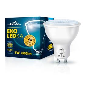 LED žiarovka ETA EKO LEDka bodová 7W, GU10, teplá biela (GU10W7WW)