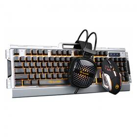 Klávesnica s myšou Marvo CM303, klávesnice, myš, headset, US (CM303 EN) čierna/strieborná
