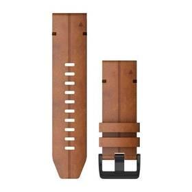 Remienok Garmin QuickFit 26mm pro Fenix5X/6X, kožený, hnědý, černá přezka (010-12864-05)