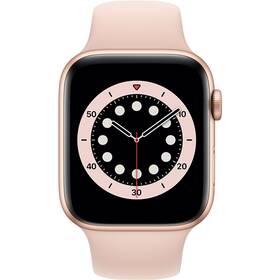 Inteligentné hodinky Apple Watch Series 6 GPS 44mm púzdro zo zlatého hliníka - pieskovo ružový športový náramok (M00E3VR/A)