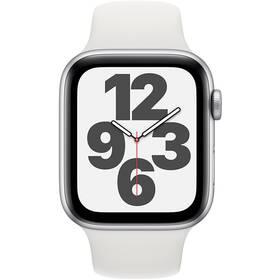 Inteligentné hodinky Apple Watch SE GPS 44mm púzdro zo strieborného hliníka - biely športový náramok (MYDQ2VR/A)