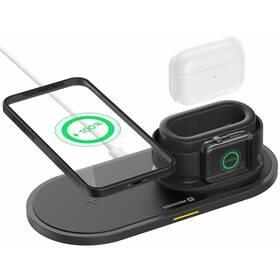 Bezdrôtová nabíjačka Swissten 3v1, pro iPhone, Apple Watch, Apple Airpods/Pro, 15W (22055506) čierna