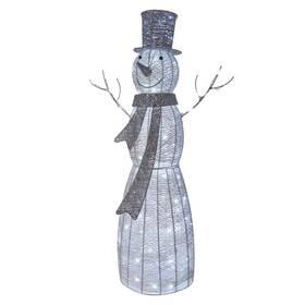 LED dekorace EMOS vánoční sněhulák ratanový, 124cm, vnitřní, studená bílá, časovač (1534212400)