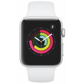 Inteligentné hodinky Apple Watch Series 3 GPS 42mm púzdro zo strieborného hliníka - biely športový remienok (MTF22CN/A)