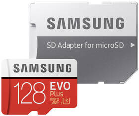 Pamäťová karta Samsung Micro SDXC EVO+ 128GB Class 10 UHS-3 (R100/W60) + SD adaptér (MB-MC128HA/EU)