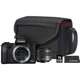 Digitálny fotoaparát Canon EOS M50 + M 15-45 IS STM + SB130 + 16 GB karta (2680C064) čierny