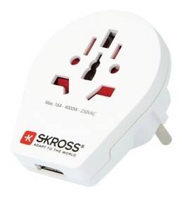 Cestovný adaptér SKROSS pro cizince v ČR, vč. 1x USB 2100mA (PA30USB) biely
