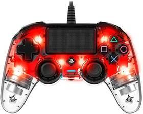Gamepad Nacon Wired Compact Controller pro PS4 (ps4hwnaconwicccred) červený/priehľadný