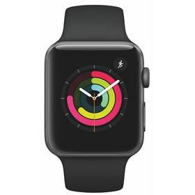 Inteligentné hodinky Apple Watch Series 3 GPS 42mm púzdro z vesmírne sivého hliníka - čierny športový remienok (MTF32CN/A)