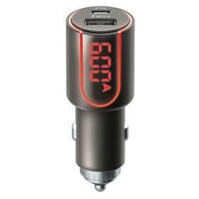 Adaptér do auta Forever Core, 1x USB QC 3.0, 1x USB-C PD 30W, s displejem (GSM045487) čierny