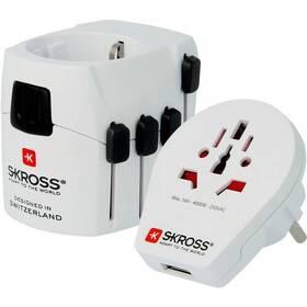 Cestovný adaptér SKROSS PRO World & USB, 6,3A max. (PA41) biely