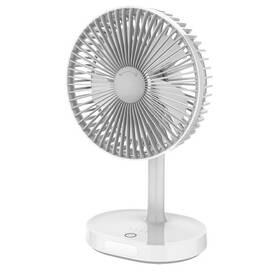 Ventilátor PLATINET nabíjecí, stolní, 3 stupně výkonu, 3000 mAh (PRDF0326) sivý/biely
