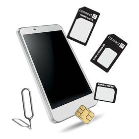 Adaptér Connect IT nano/ micro/ standard SIM (CFF-0050-BK) čierne
