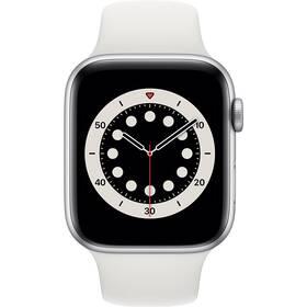 Inteligentné hodinky Apple Watch Series 6 GPS 44mm púzdro zo strieborného hliníka - biely športový náramok (M00D3VR/A)