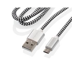Kábel GoGEN USB / micro USB, 1m, opletený, zkumavka (MICUSB100MM24T) strieborný